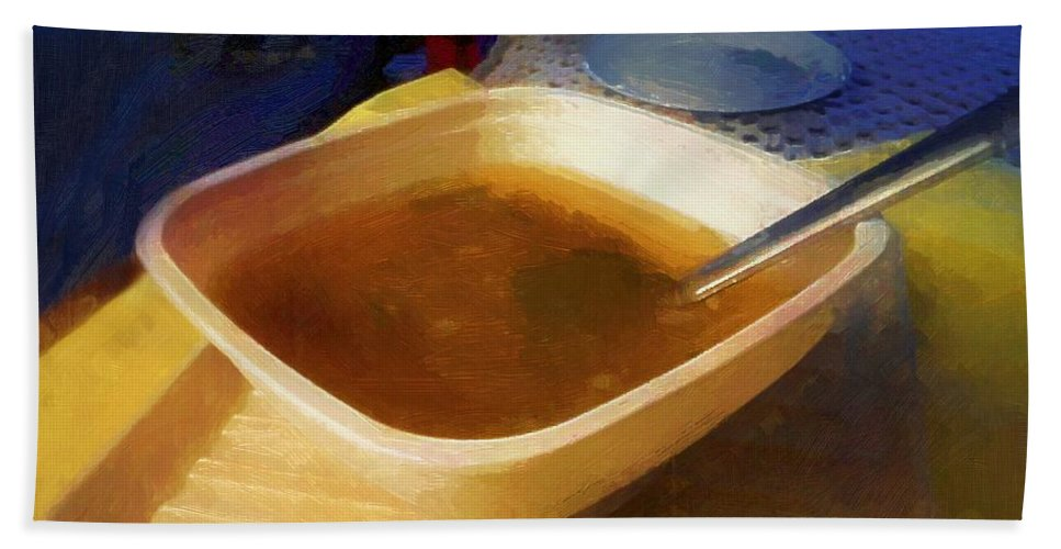 Soup Bath Sheet featuring the painting Simple Supper by RC DeWinter