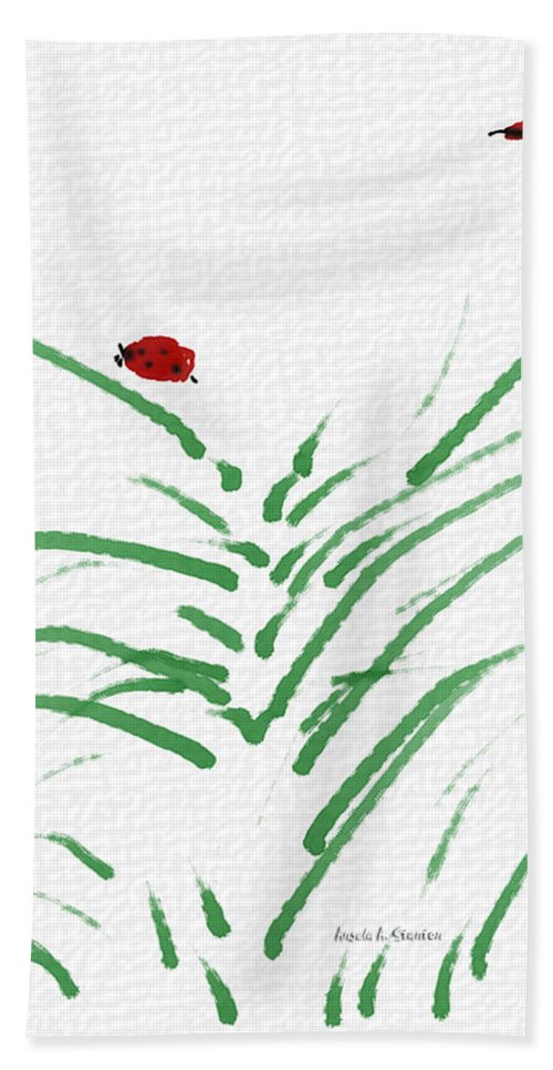 Anyur Ink App Hand Towel featuring the painting Simply Ladybugs And Grass by Angela Stanton