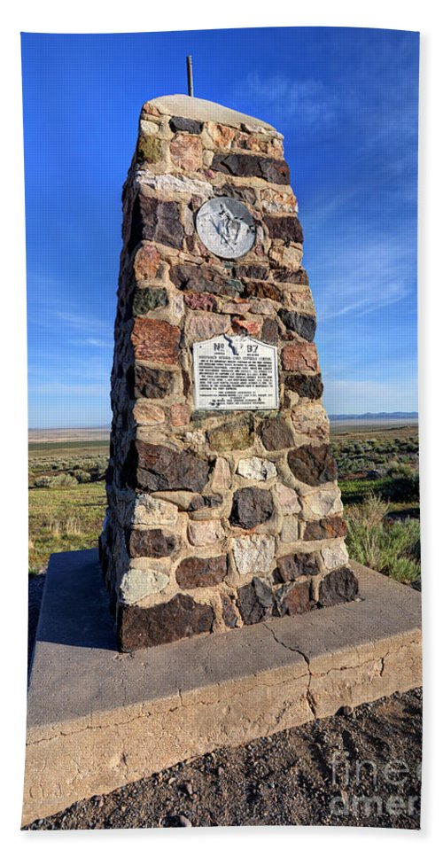 Simpson Bath Sheet featuring the photograph Simpson Springs Pony Express Station Monument - Utah by Gary Whitton