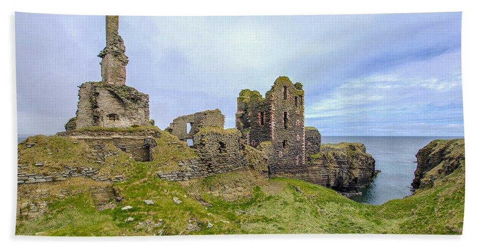 Sinclair Castle Hand Towel featuring the photograph Sinclair Castle Scotland - 3 by Paul Cannon