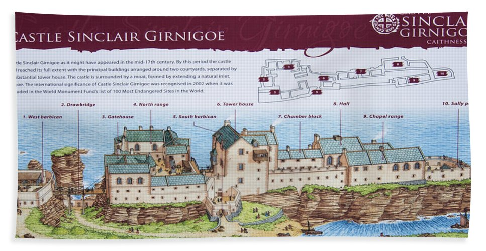 Sinclair Castle Hand Towel featuring the photograph Sinclair Castle Scotland - 8 by Paul Cannon