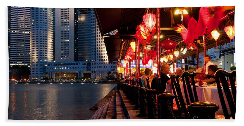 Singapore Bath Sheet featuring the photograph Singapore Boat Quay 03 by Rick Piper Photography
