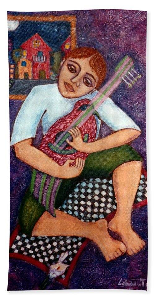 Children Hand Towel featuring the painting Singing Dreams by Madalena Lobao-Tello