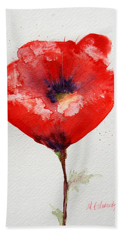 Anemone Bath Sheet featuring the painting Single Red Anemone by Marna Edwards Flavell
