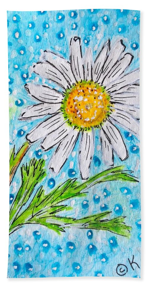 Daisy Bath Sheet featuring the painting Single Summer Daisy by Kathy Marrs Chandler