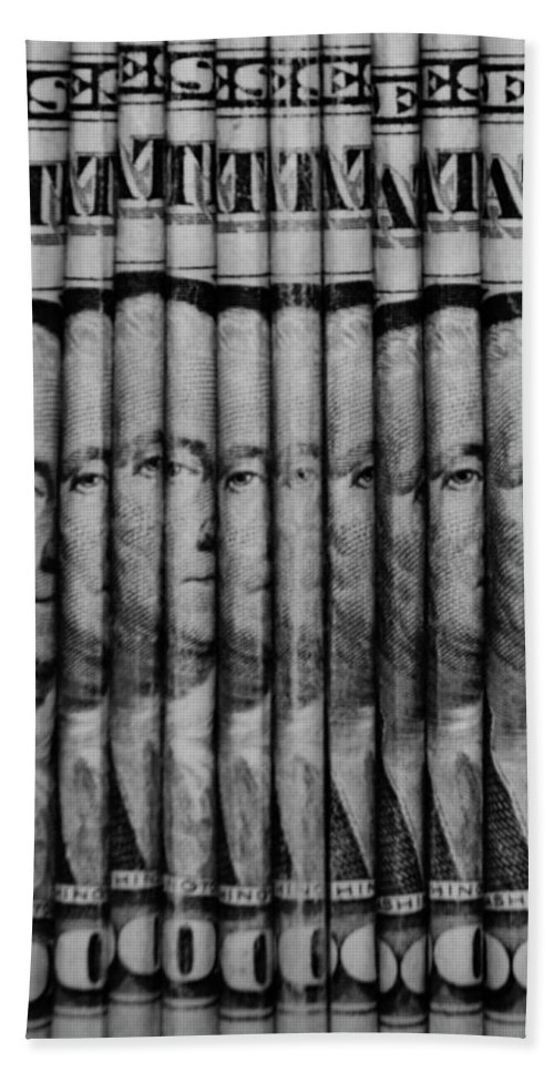 Money Hand Towel featuring the photograph Singles In Black And White by Rob Hans