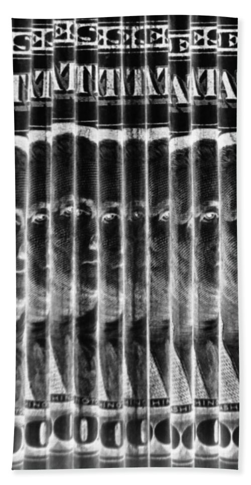 Money Hand Towel featuring the photograph Singles In Negative Black by Rob Hans