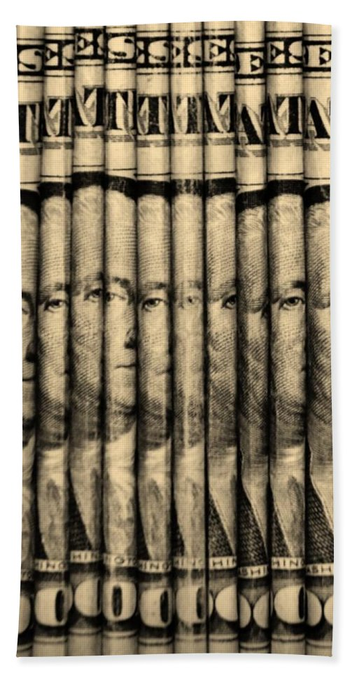 Money Hand Towel featuring the photograph Singles In Sepia by Rob Hans