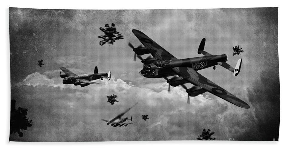 Raf Lancaster Bombers Bath Sheet featuring the digital art Sinking The Tirpitz by J Biggadike