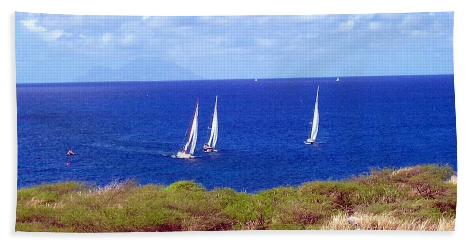 Sailing Hand Towel featuring the photograph Sint Maarten Regatta by Glenn Aker