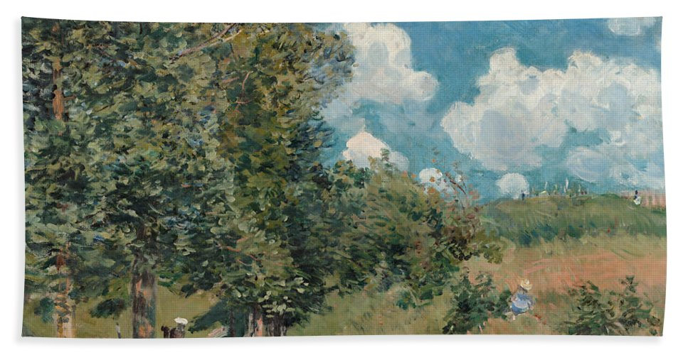 1875 Bath Sheet featuring the painting Sisley The Road, 1875 by Granger