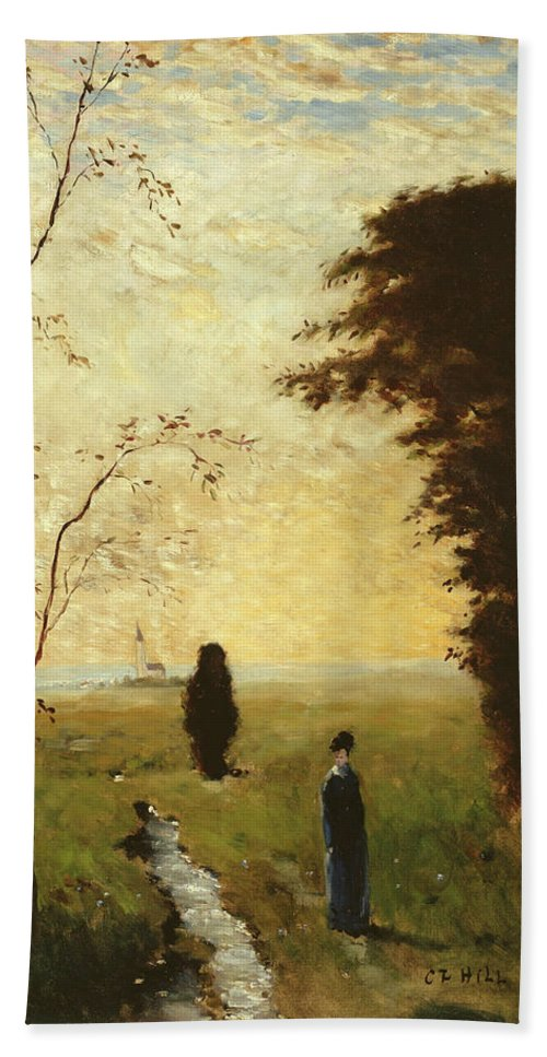 Carl Fredrik Hill Hand Towel featuring the painting Sister Anna by Carl Fredrik Hill