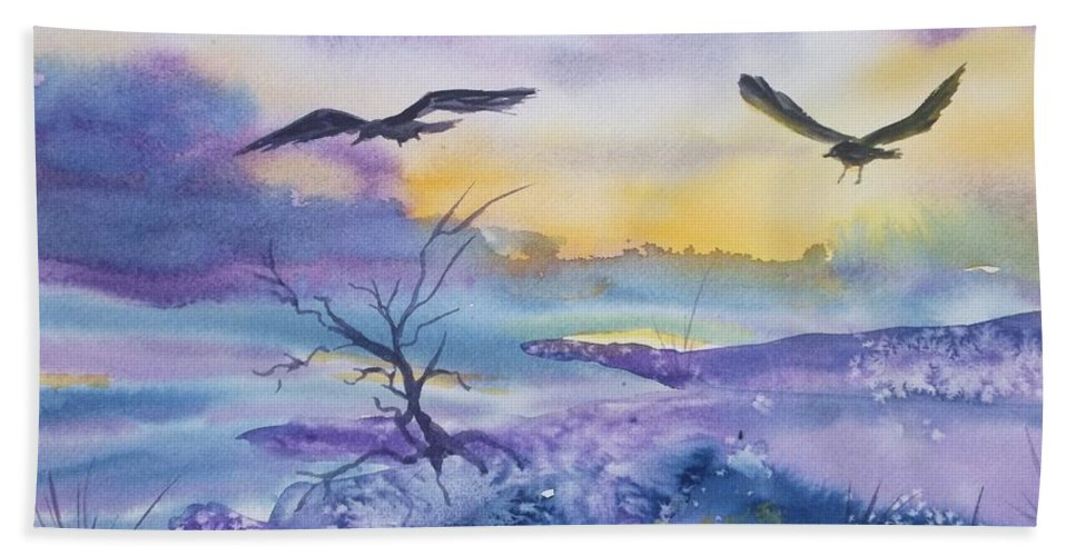 Ravens Hand Towel featuring the painting Sister Ravens by Ellen Levinson
