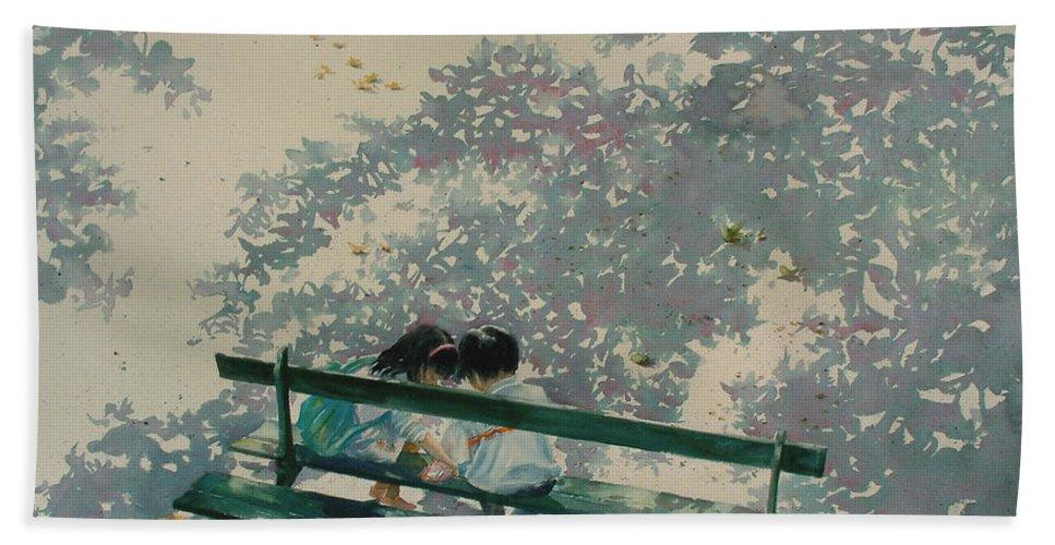 Paris Bath Sheet featuring the painting Sisterly Love by Maryann Boysen