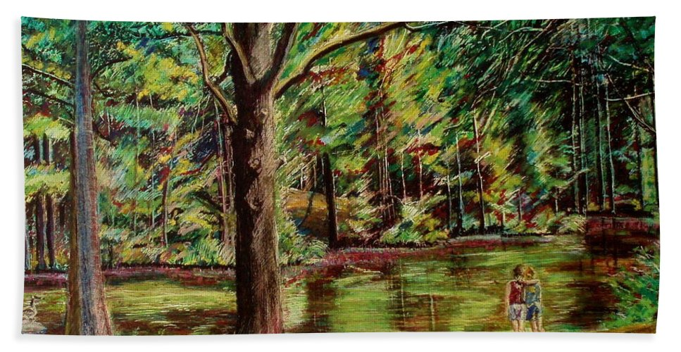 New Hampshire Hand Towel featuring the pastel Sisters At Wason Pond by Sean Connolly