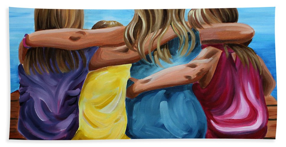 Pier Hand Towel featuring the painting Sisters by Debbie Hart
