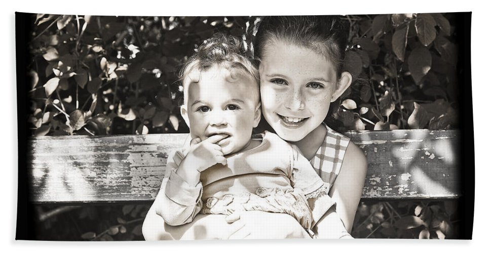 Sisters Hand Towel featuring the photograph Sisters In Sepia by Alex Art and Photo