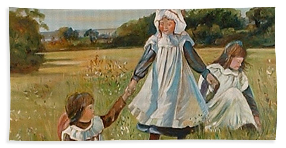 Classic Art Bath Towel featuring the painting Sisters by Silvana Abel