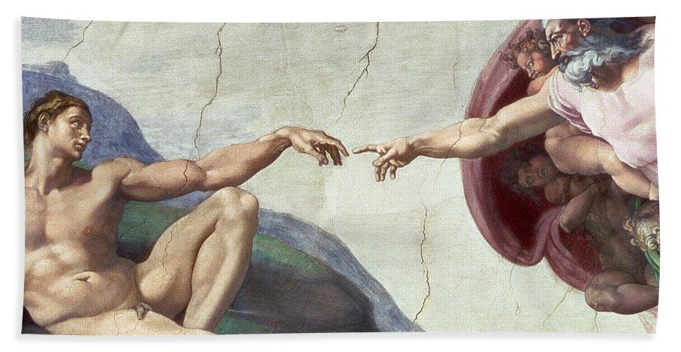 Renaissance Bath Sheet featuring the painting Sistine Chapel Ceiling by Michelangelo Buonarroti