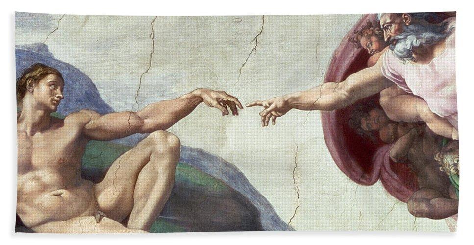 Renaissance Bath Towel featuring the painting Sistine Chapel Ceiling by Michelangelo Buonarroti