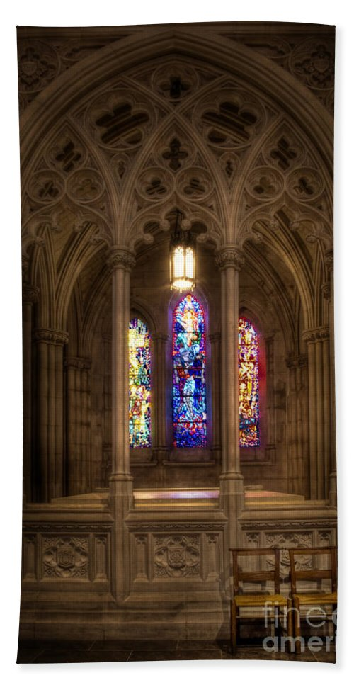 Church; Religion; Religious; Building; Worship; Arches; Windows; Stained Glass; Colorful; Colourful; Christian; Interior; Inside; Indoors; Ornate; Beautiful; Serene; Chairs; Light; Shadows; National Cathedral; Wilson; Woodrow Wilson; Seats; Two; Mourn; Sadness; Loss; Gothic Hand Towel featuring the photograph Sit And Reflect by Margie Hurwich
