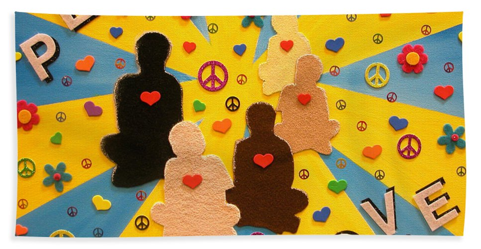 Non-violent Protest Hand Towel featuring the mixed media Sit Down And Change The World by Alys Caviness-Gober