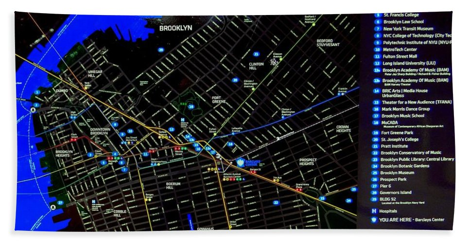 Map Hand Towel featuring the photograph Sites And Subways by Ed Weidman