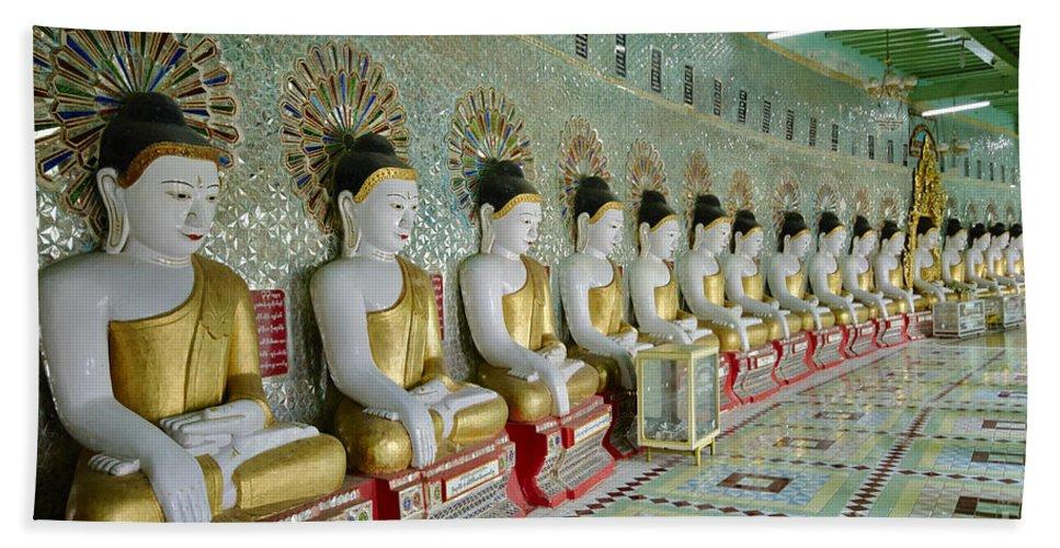 Sagain Bath Sheet featuring the photograph sitting Buddhas in Umin Thonze Pagoda by Juergen Ritterbach