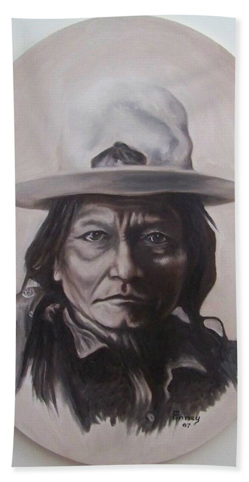 Michael Hand Towel featuring the painting Sitting Bull by Michael TMAD Finney
