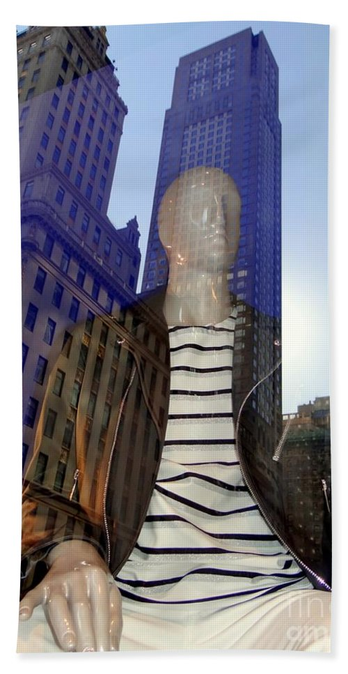 Mannequins Hand Towel featuring the photograph Sitting In Stripes by Ed Weidman