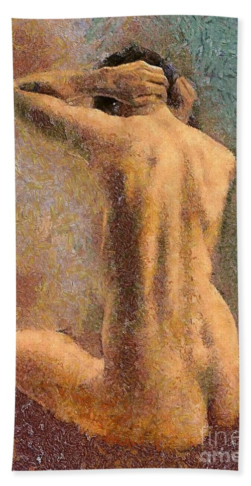 Human Body Bath Sheet featuring the mixed media Sitting Nude 3 by Dragica Micki Fortuna
