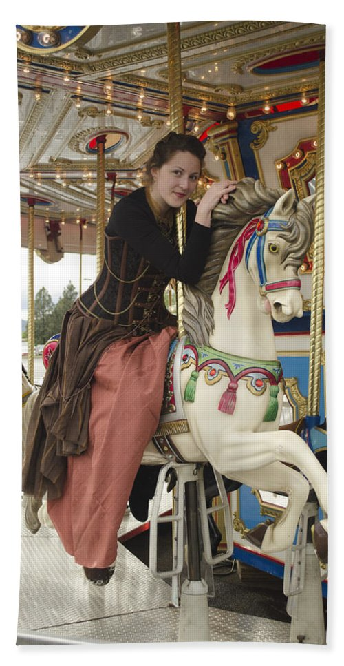 Carousel Horse Hand Towel featuring the photograph Sitting Pretty by Teri Schuster