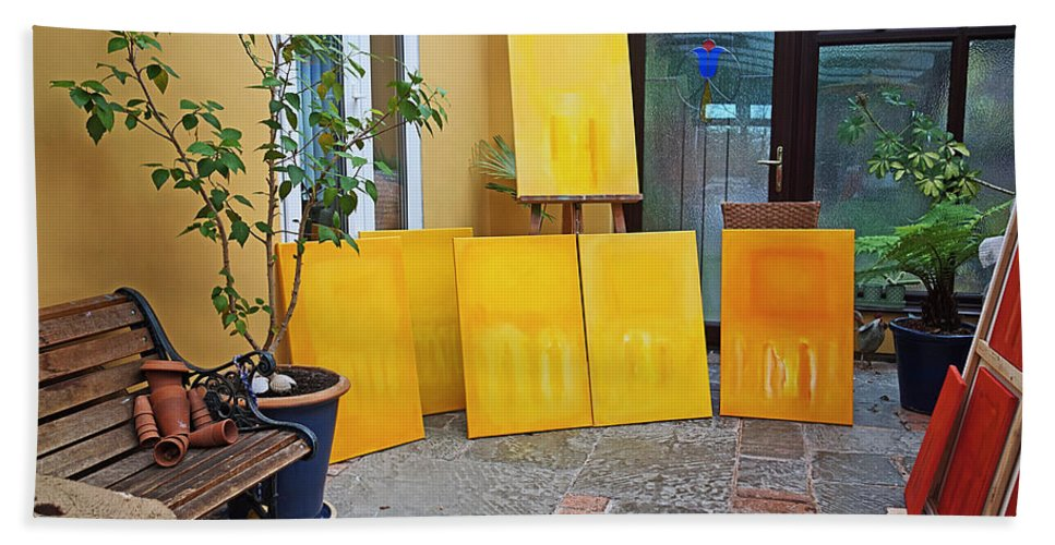 Yellow Bath Towel featuring the painting Six Paintings In Yellow by Charles Stuart