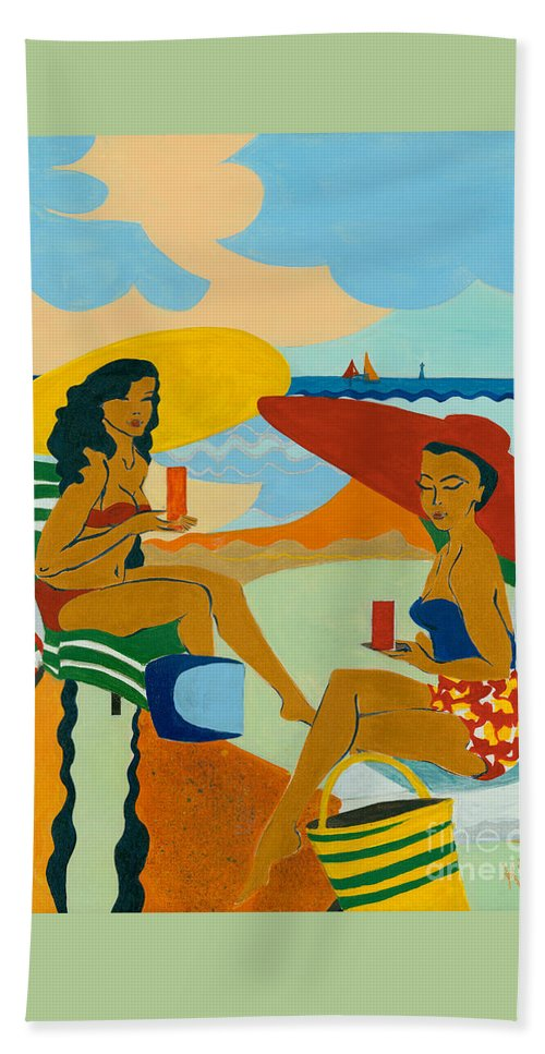 Summer Hand Towel featuring the painting Sizzling Summer by Elisabeta Hermann