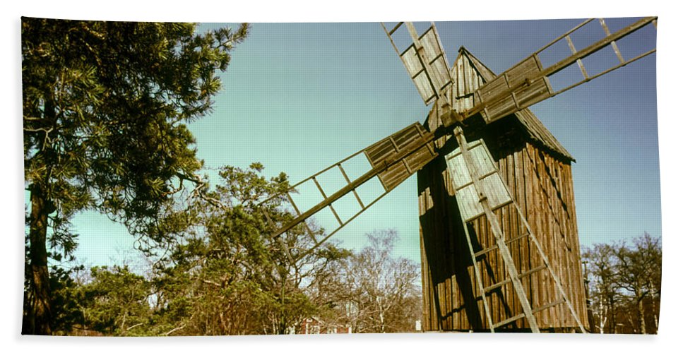 Skansen Outdoor Museum Stockholm Sweden Windmill Windmills Mill Mills Structure Structures Architecture Hand Towel featuring the photograph Skansen Outdoor Museum by Bob Phillips