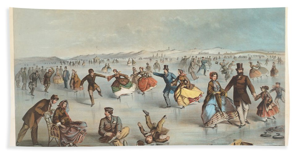 Winslow Homer Bath Sheet featuring the drawing Skating In Central Park. New York by Winslow Homer
