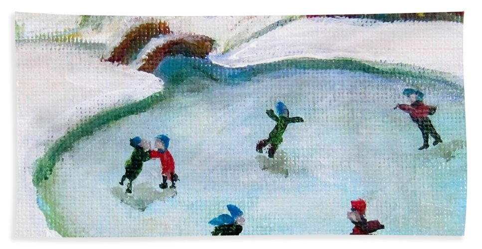 Ice Skate Bath Towel featuring the painting Skating Pond by Laurie Morgan