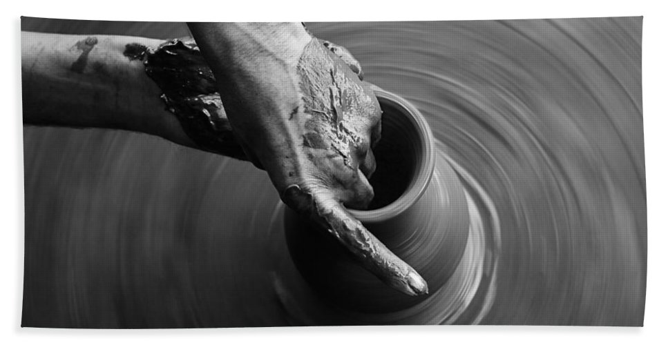 Potter Bath Sheet featuring the photograph Skc 3467 Careful Molding by Sunil Kapadia