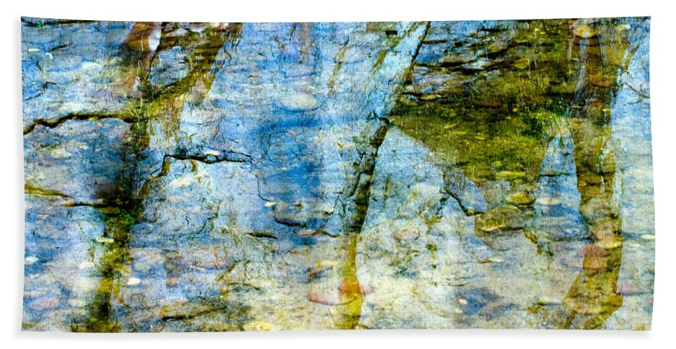 Skeletal Abstract Is A Photograph Of The Reflection Of The Mountain Side In Oak Creek Canyon. Hand Towel featuring the photograph Skeletal Abstract by Mae Wertz