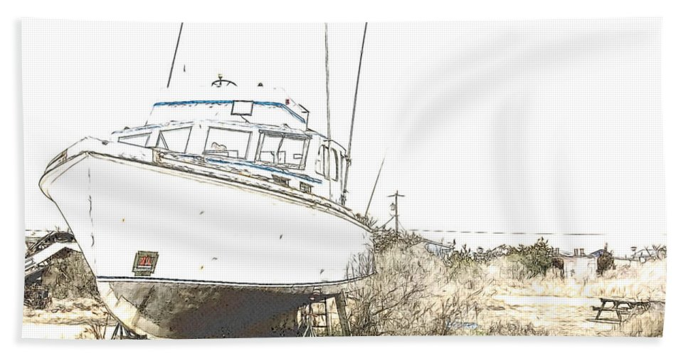 Boat Hand Towel featuring the photograph Skeleton Boat by Alice Gipson