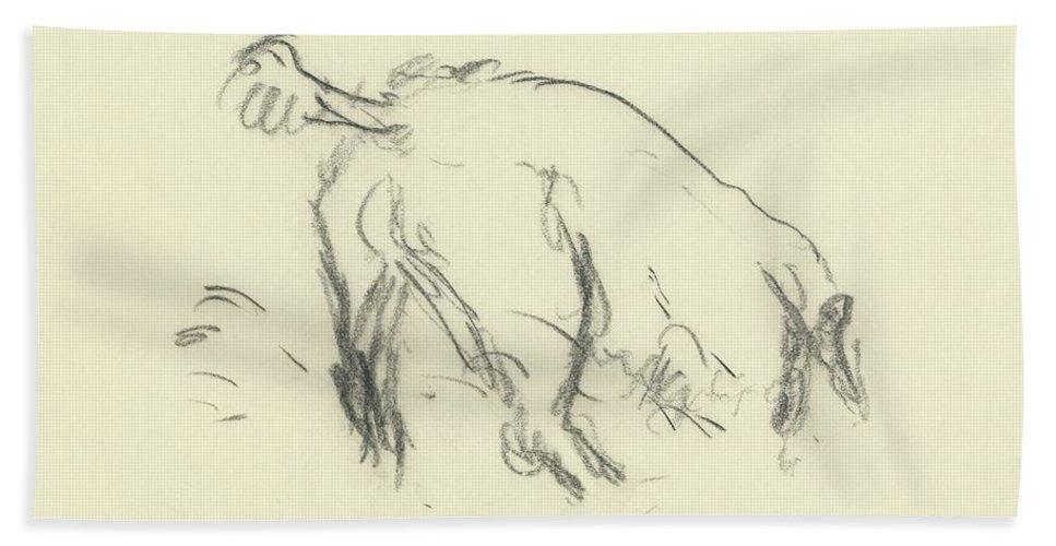 Fashion Bath Towel featuring the digital art Sketch Of A Dog Digging A Hole by Carl Oscar August Erickson