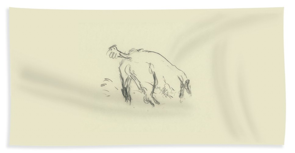 Sketch Of A Dog Digging A Hole Bath Towel