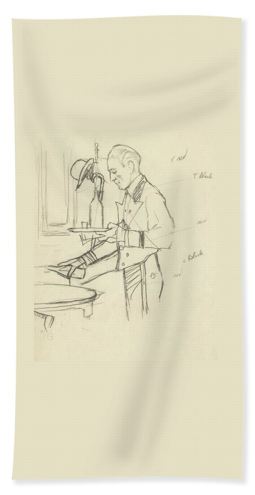 Food Bath Towel featuring the digital art Sketch Of Waiter Pouring Wine by Carl Oscar August Erickson