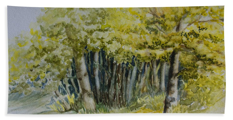 Whiteshell Provincial Park Hand Towel featuring the painting Sketching Trees by Joanne Smoley