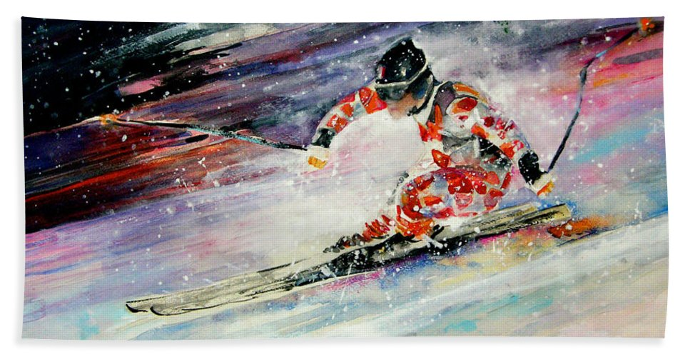 Sports Hand Towel featuring the painting Skiing 01 by Miki De Goodaboom