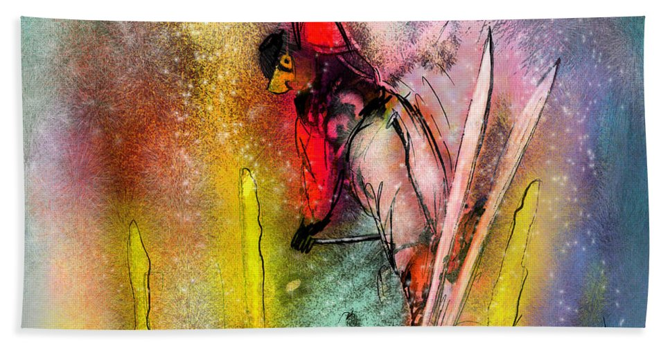 Sports Bath Sheet featuring the painting Skiscape 02 by Miki De Goodaboom