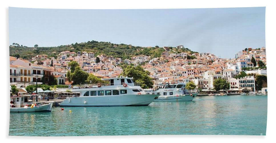Skopelos Hand Towel featuring the photograph Skopelos Harbour Greece by David Fowler