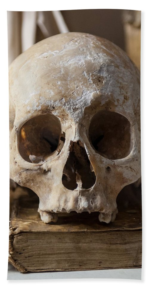 Memento Mori Bath Sheet featuring the photograph Skull And Old Book by Gary Eason