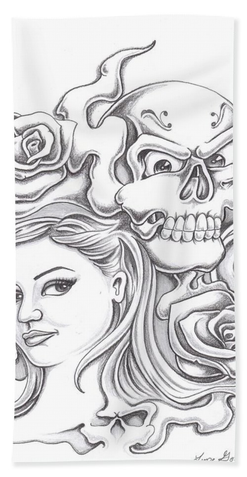 Skull Bath Sheet featuring the drawing Skull And Roses by Lupe Gonzalez