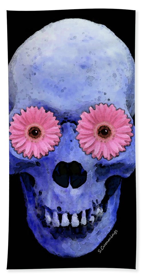 Skull Hand Towel featuring the painting Skull Art - Day Of The Dead 1 by Sharon Cummings